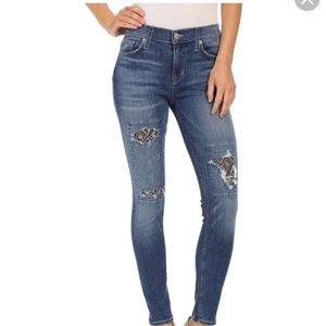 Hudson Supper Skinny Ankle Nico Jeans patch